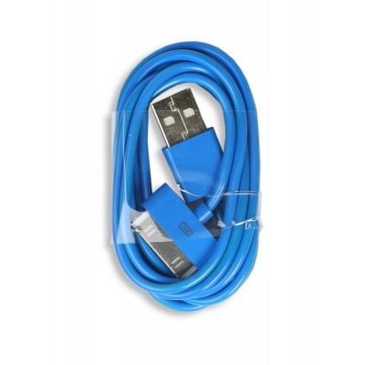 Кабель Smartbuy USB - 30-pin для Apple, цветные, длина 1,2 м, голубой (iK-412c blue)