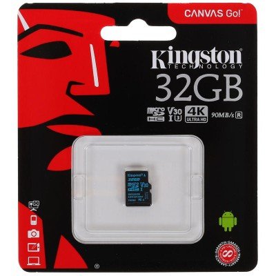 32GB micro SDHC карта памяти Kingston Canvas Go 90R/45W Class10 U3 UHS-I V30 без адаптера