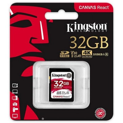 32GB SDHC карта памяти Kingston class10 UHS-I U3 V30 A1 Canvas React 100R/70W