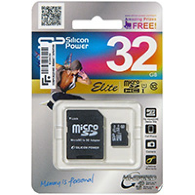 32GB micro SDHC карта памяти Silicon Power Class10 Elite UHS-I, R/W 85/15 MB/s (с адаптером)