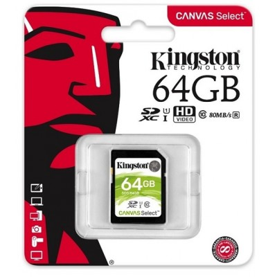 64GB SDXC карта памяти Kingston Class10 Canvas Select UHS-I up to 80MB/s