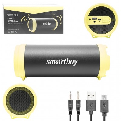 Колонка Smartbuy TUBER MKII, Bluetooth, MP3-плеер, FM-радио, черн/желт(SBS-4200)
