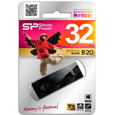 32GB USB Silicon Power Blaze B20 Black, 3.0