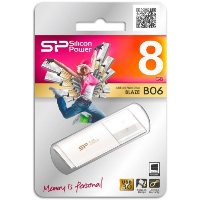 8GB USB Silicon Power Blaze B06 White, 3.0